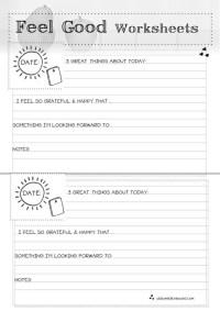 Feel Good Worksheets BW | Self Esteem/Positive Thinking ...