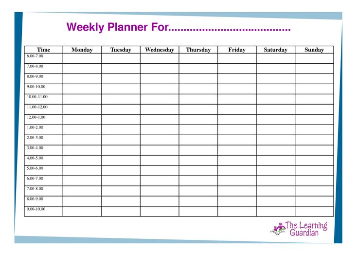 week organizer template