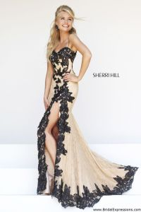 Sherri Hill 9817 Lace Prom Dress with Slit | Party Dresses ...