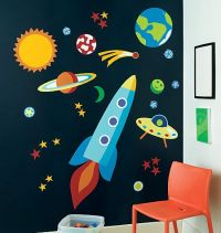 Outer Space Wall Mural - Planets Rockets Galaxy Wallpaper ...