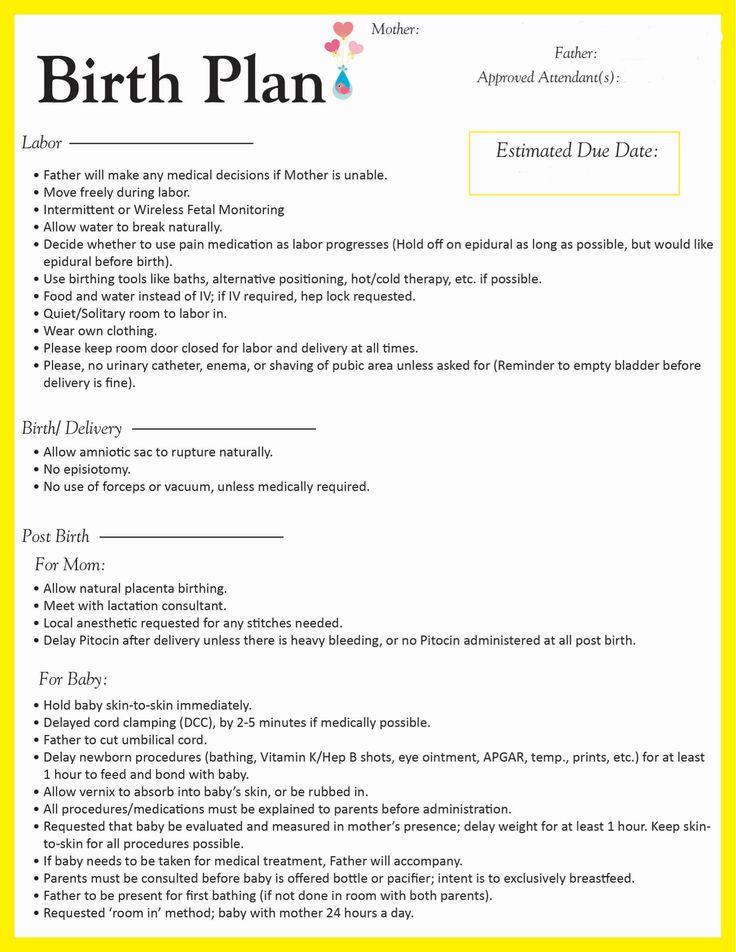 creating a birth plan template