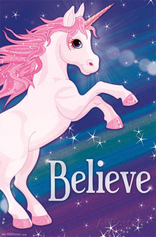 Cute Baby Sorry Hd Wallpaper Rainbow Unicorn Poster Believe Print 22x34 Print