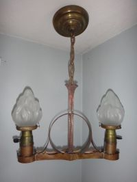 Antique Mission Arts & Crafts Hammered Copper Chandelier ...