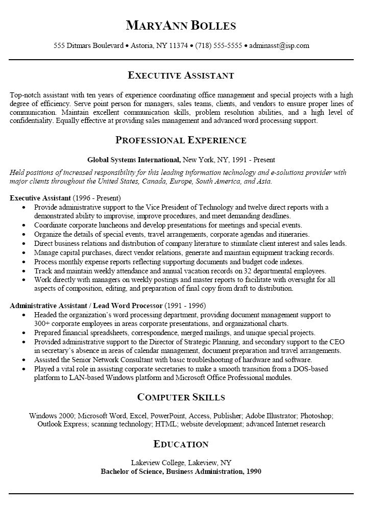 administrative assistant cv international organization