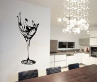Details about Abstract Wine Glass Wall Art Stickers Decals
