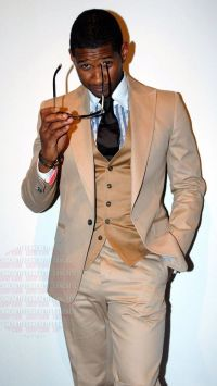 Usher wearing Beige Suit, Tan Waistcoat, White and Blue ...
