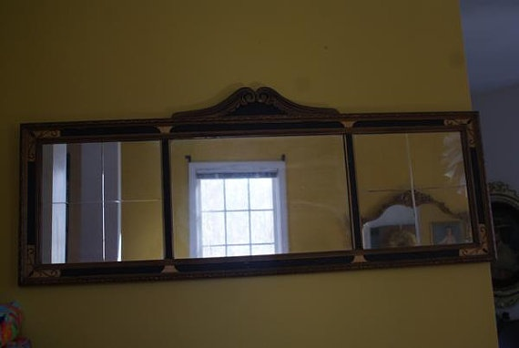 Beveled Mirror Wood Frame Antique 1920s Art Deco Wooden Frame Hangs Horizontal