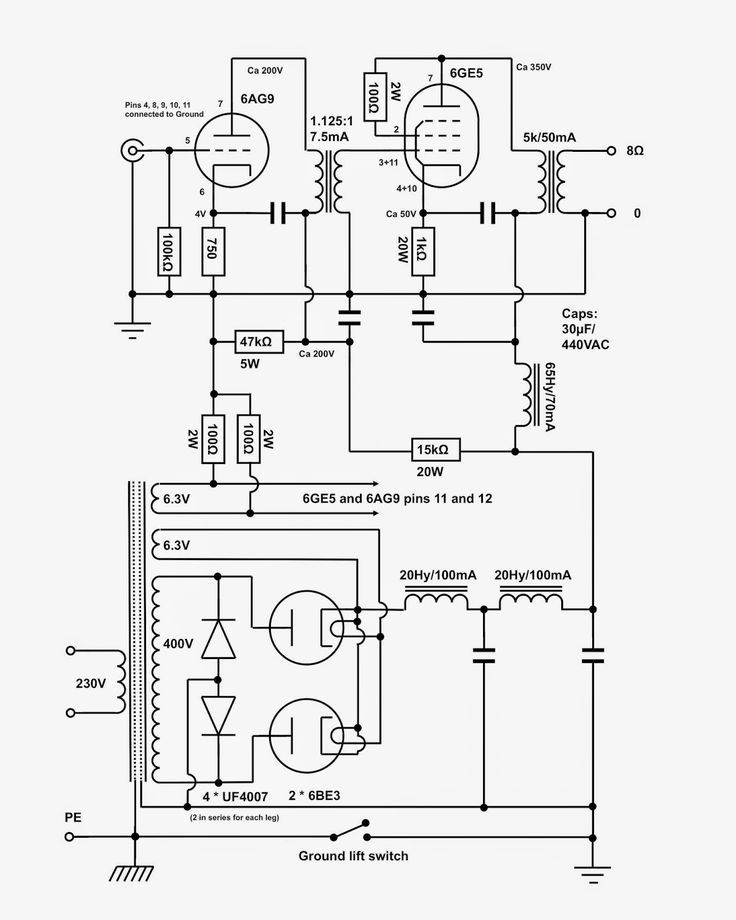 tube amp schematics and parts list