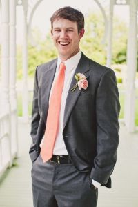 Grey suit with salmon tie | Groom and Groomsmen ...