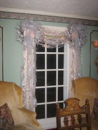 French doors in dining room. Christmas decorations James