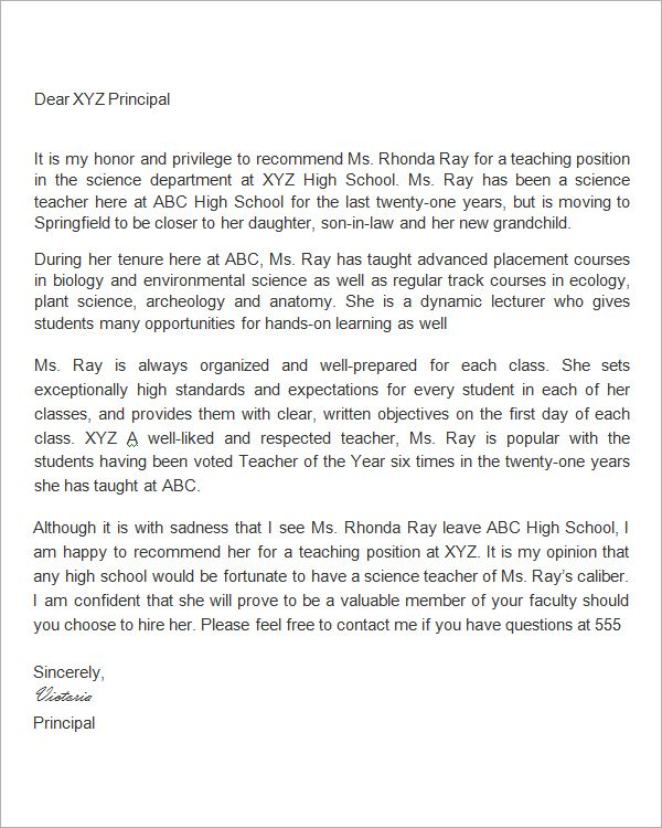 letter of recommendation for principal applicant