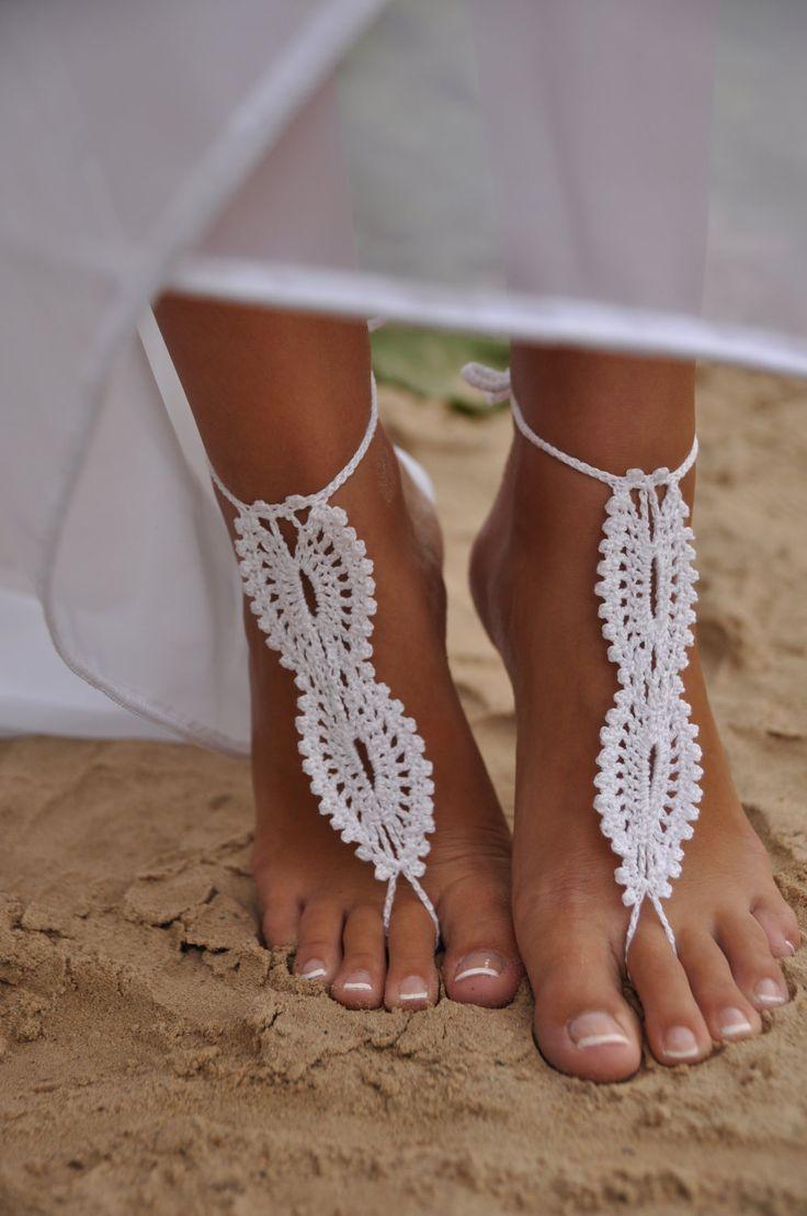 alternative wedding shoes wedding slippers Bridal Barefoot Sandals White crochet barefoot sandals Bridal Foot jewelry Beach wedding barefoot sandals Lace shoes Beach wedding sandals