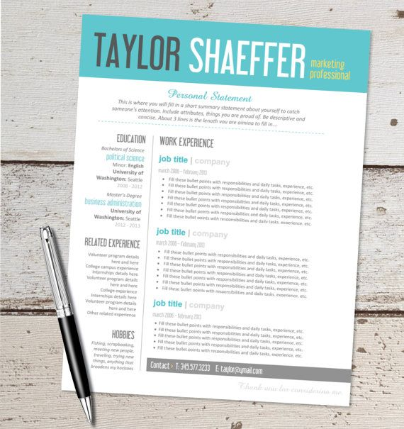 Resume Template For Microsoft Words – Words Templates