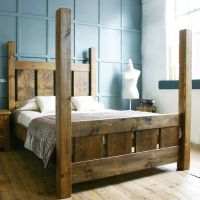 HANDMADE SOLID WOOD RUSTIC CHUNKY SLATTED FOUR POSTER ...