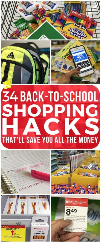 32 Back-to-School Shopping Hacks That'll Save You All the Money | School hacks and School
