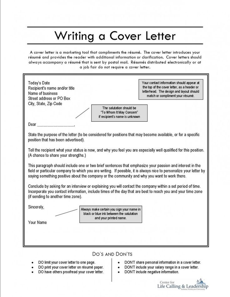 letter cover page