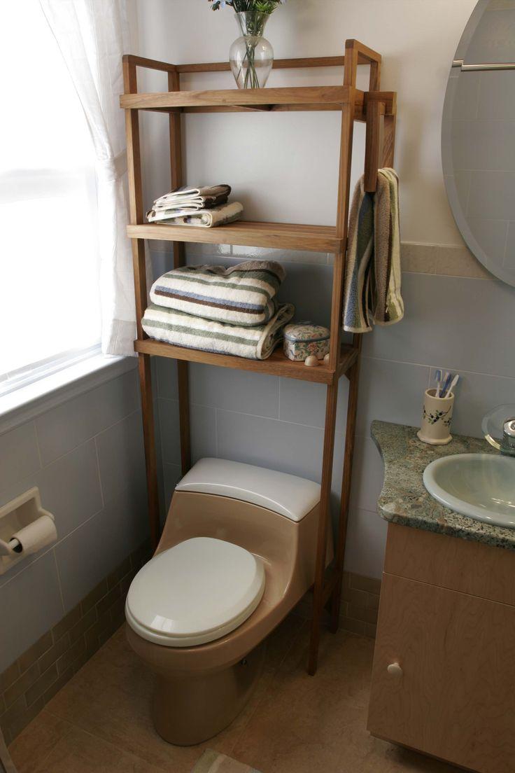Teak space saver shelf bathroom