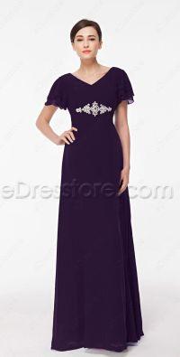 Modest Eggplant Purple Mother of the Bride Dress Plus Size ...