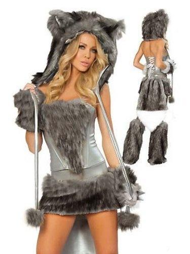 Woman Halloween Sexy Grey Wolf Costume Corset Skirt Tail