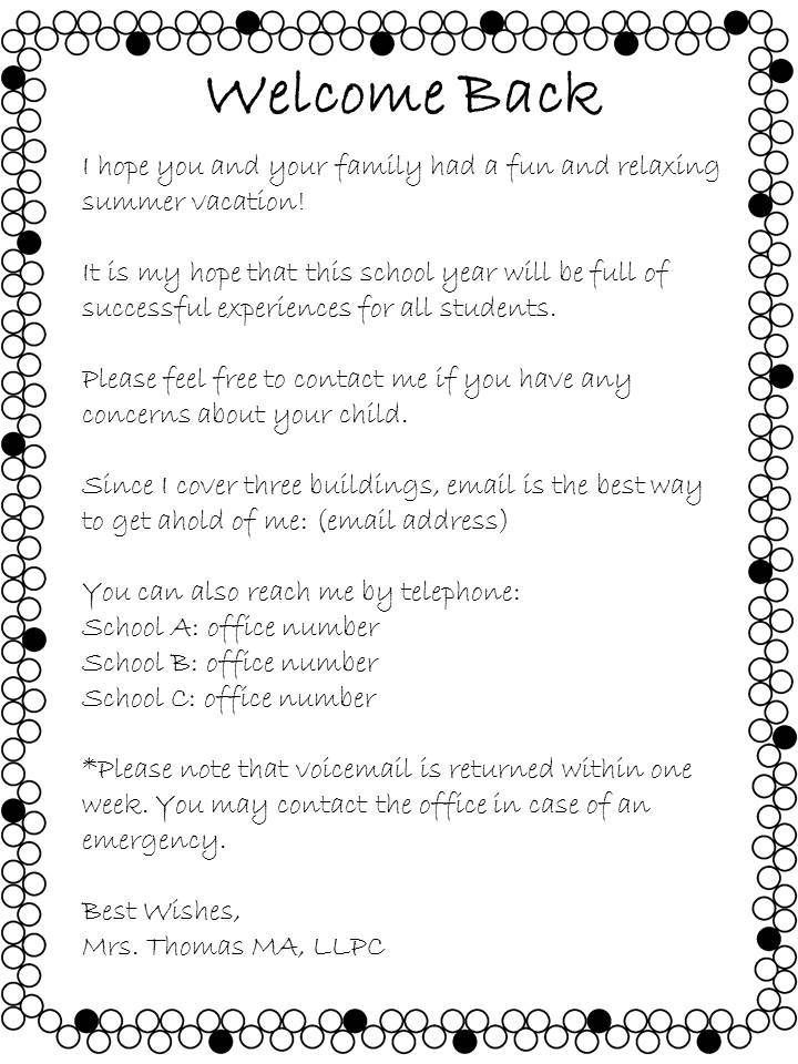 sample welcome back to school letters to parents