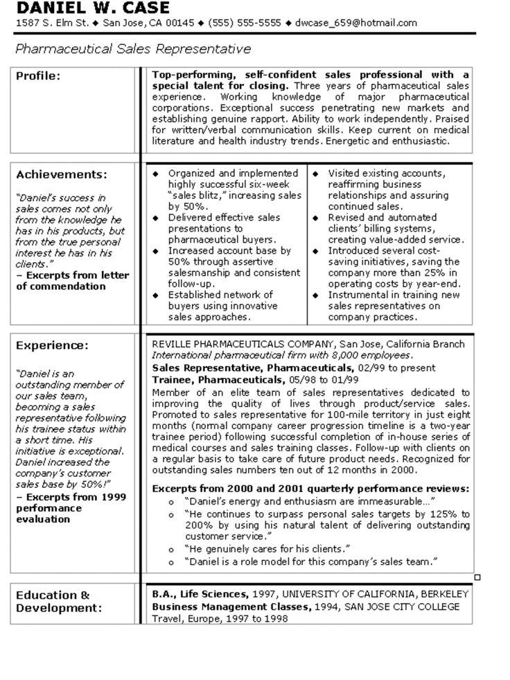 pharmaceutical representative resume sample