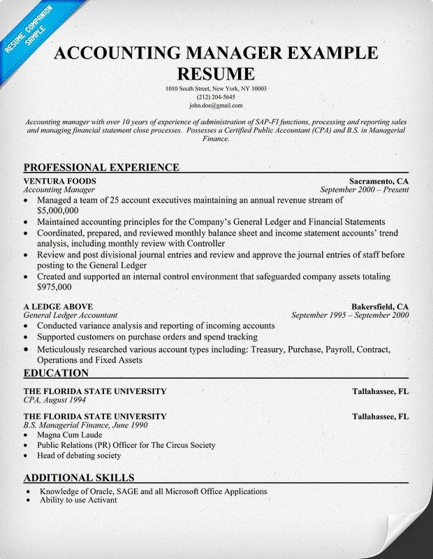 Cpa Manager Resume Sample | Best | Resume | Samples