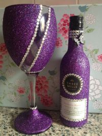 Purple glitter wine glass and bottle | copas | Pinterest ...