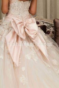 Bow wedding gown baxk.... A pale pale pink wedding dress ...