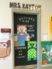 Red Ribbon week door decor. Minecraft. Say no to drugs! # ...