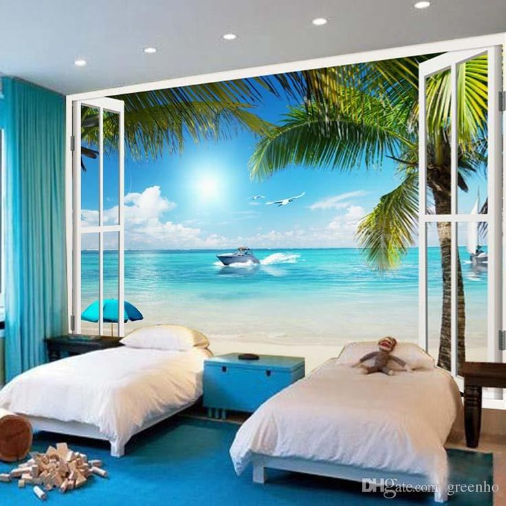 Schlafzimmer Strand Look Large Wallpaper Window 3d Beach Seascape View Wall