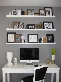 Love the shelves to the ceiling above a desk, diy shelves ...