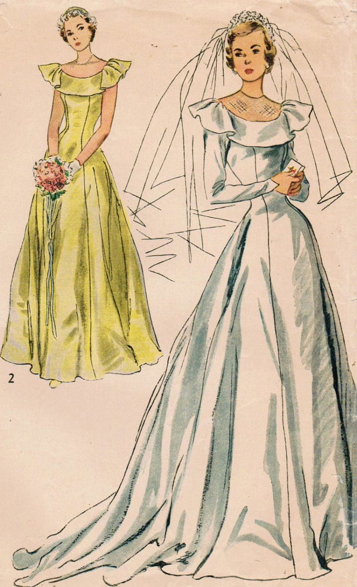 bridal gown patterns simplicity wedding dress patterns s Simplicity Vintage Sewing Pattern Misses Bridal and Bridesmaid Dress Size 14 Bust 32