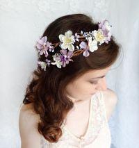 lavender flower hair wreath, purple wedding headpiece ...
