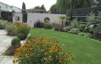 A wide shallow contemporary garden design in Windsor ...