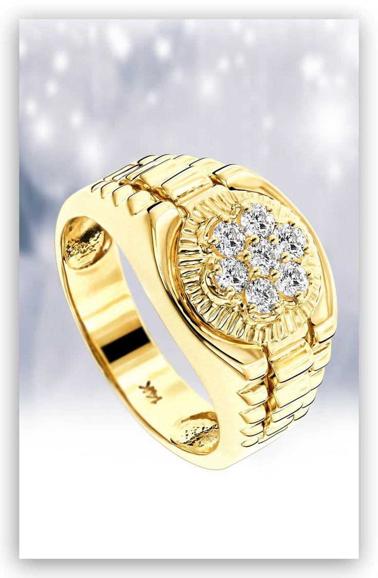 Diamond Rings 14k Mens Rolex Style Diamond Ring 45ct