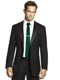 Men's emerald green skinny tie and black suit