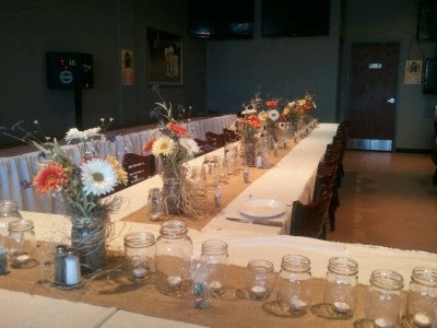Rustic Rehearsal dinner decorations I did for my son and daughter-in-laws wedding | Rehearsal ...