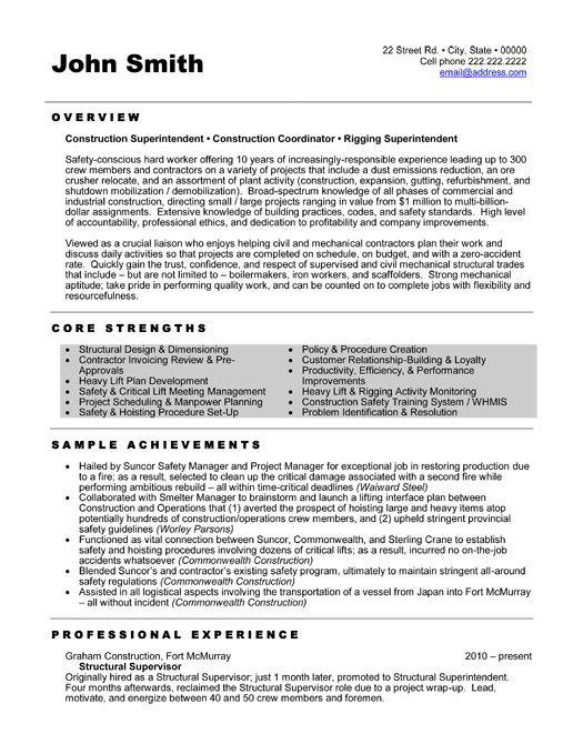 Construction Superintendent Resume Templates - construction resume templates
