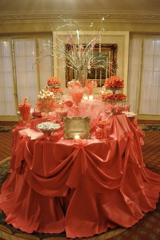Candy Buffet Setup Orange Tablecloth Classic Candy Bar