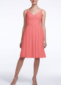 Davids Bridal ~ Coral~ Style F15603- Short Chiffon Dress ...
