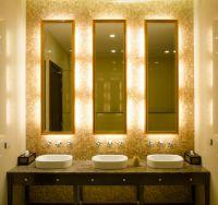Elegant touch. LED lighting in hotel restroom ...