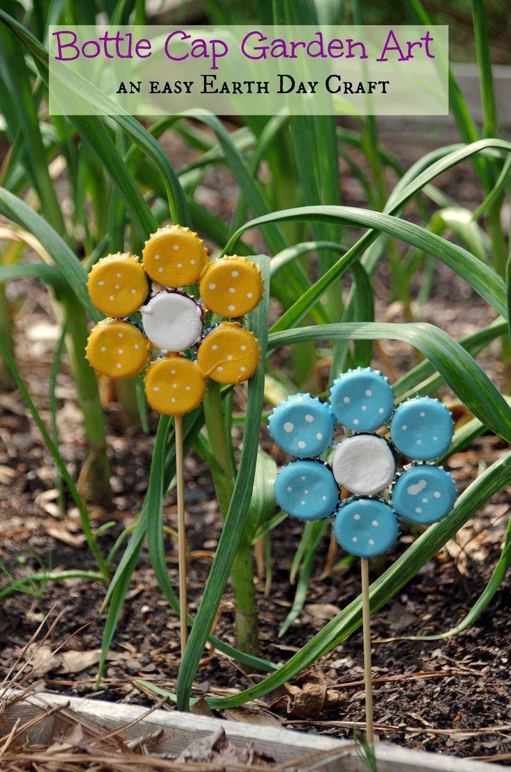 Make garden art flowers from old bottle caps
