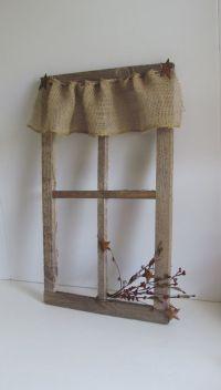 Burlap Curtains Primitive Rustic Barnboard Old Window ...