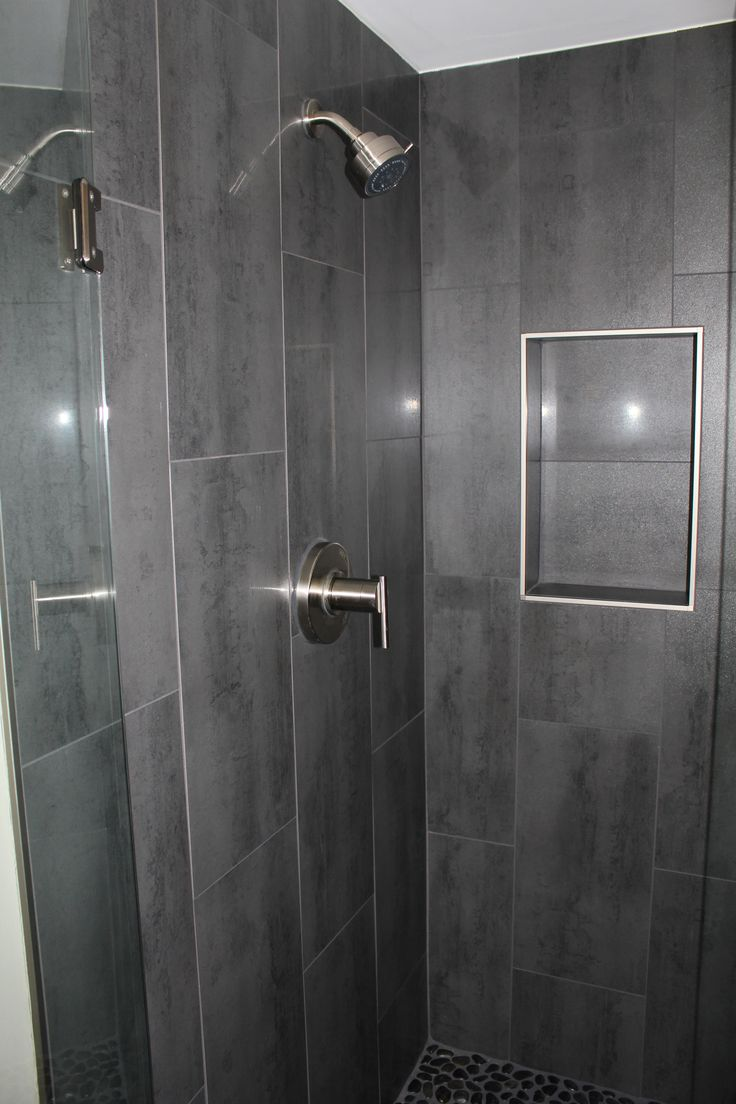 Niche w out bullnose gray 12 x 24 shower tile with danze shower faucet