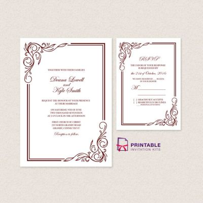 Wedding Invitation Templates Free PDFs - with easy to edit ...