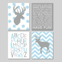 Baby Boy Nursery Art - Chevron Deer Nursery Prints - Kids ...