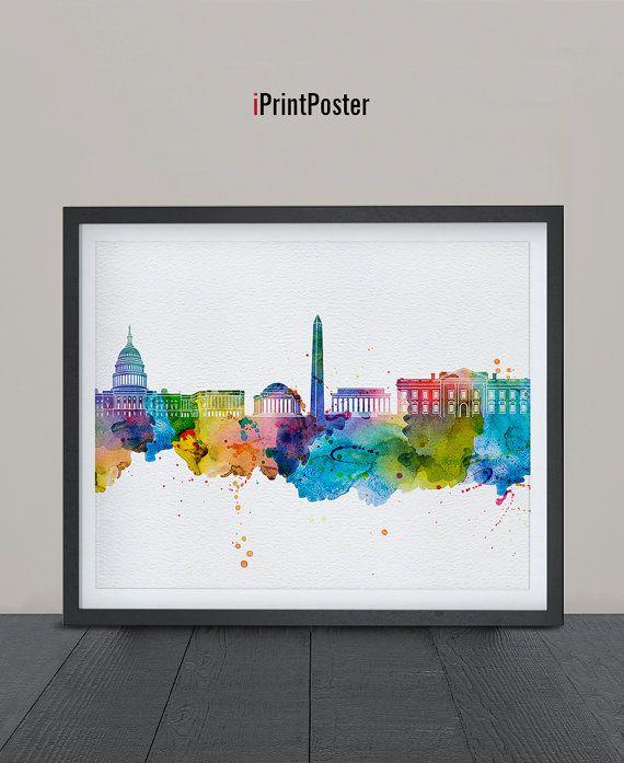 Washington DC, Art Print, Watercolor, Poster, Art, City