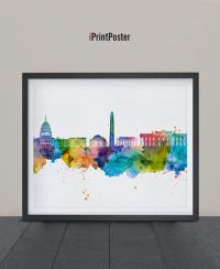 Washington DC, Art Print, Watercolor, Poster, Art, City