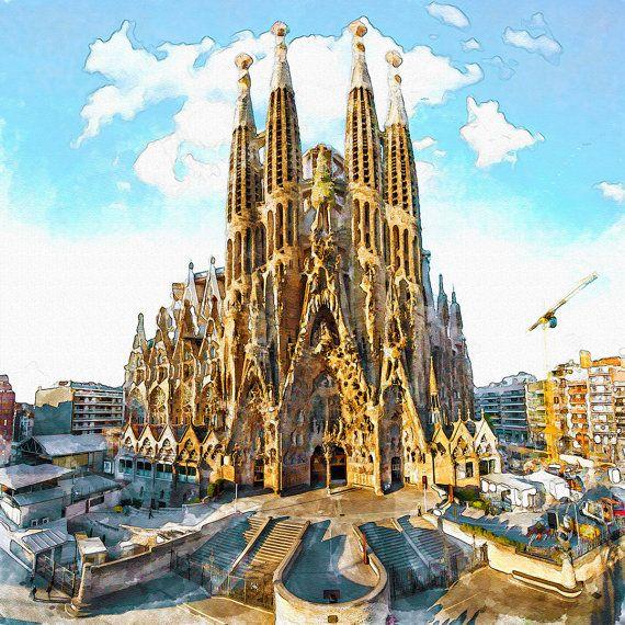 Sagrada Familia Watercolor painting Wall art City symbol