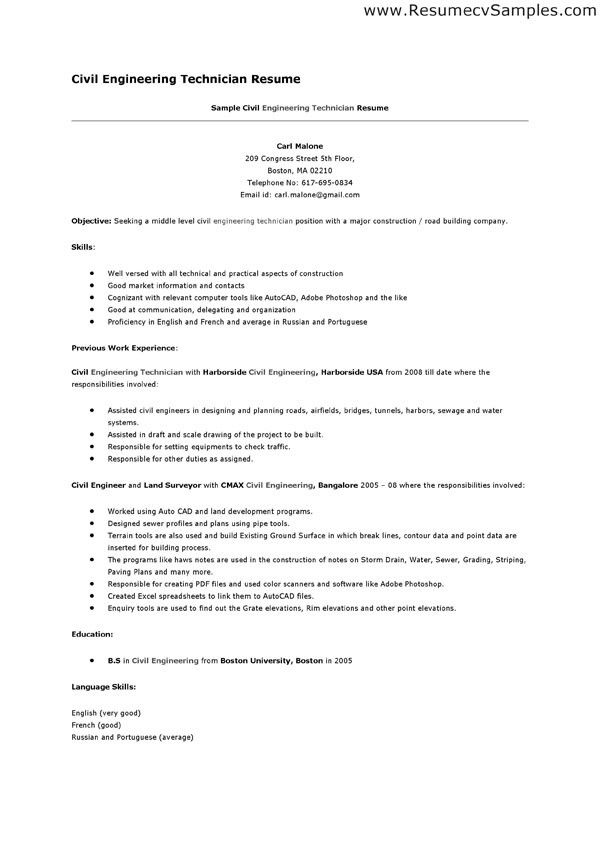 civil engineering technician resume examples